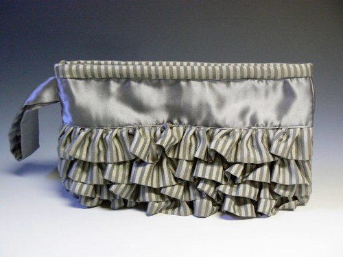 Silver Strip Ruffle Clutch