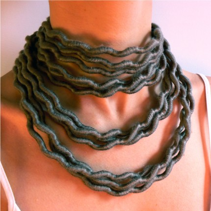 Cotton Spiral Sculptural Necklace in Taupe