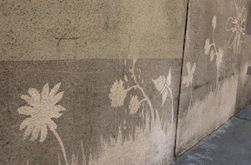 Detalhe de Projeto de Reverse Graffiti em São Francisco
