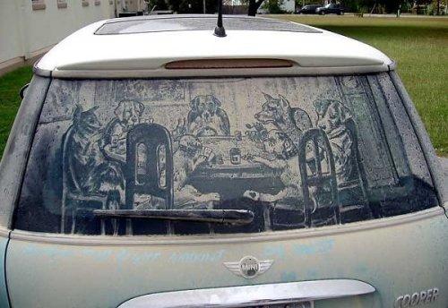 Reverse Graffiti em carros de Scott Wade
