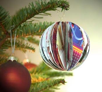 Bolas de natal de papel reciclado alcova moderna - Comment faire une boule de noel ...