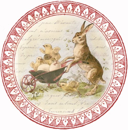 bunny & chicks ~ circular tag
